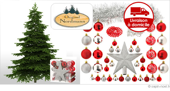 Livraison sapin de Noel Nordmann et ses décorations